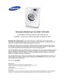 Samsungs luftbubblor ger rena kläder i kallt vatten