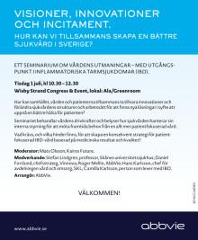 AbbVie Almedalen 2014 seminarium den 1 juli kl 10.30