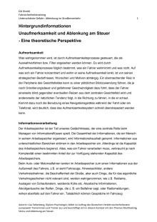 Hintergrundinformation: Ablenkung im Straßenverkehr - Dipl. Psych. Lisa Falkenberg