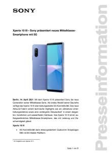 Xperia 10 III - Sony präsentiert neues Mittelklasse-Smartphone