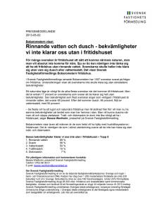 Bobarometern fritidshus: Rinnande vatten och dusch - bekvämligheter vi inte klarar oss utan i fritidshuset