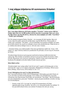 1 maj släpps biljetterna till sommarens Ärtsafari