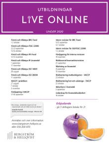Utbildningar - live online - hösten 2020