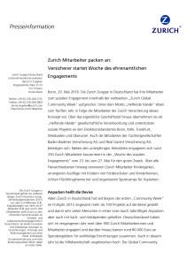 Zurich Mitarbeiter packen an: Versicherer startet Woche des ehrenamtlichen Engagements
