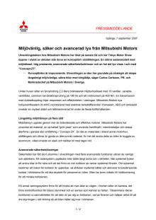 Miljövänlig, säker och avancerad lyx från Mitsubishi Motors