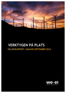 WEREL AB - DELÅRSRAPPORT JAN-SEP 2016
