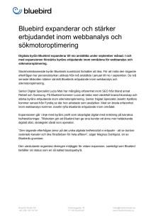 Bluebird expanderar och stärker erbjudandet inom webbanalys