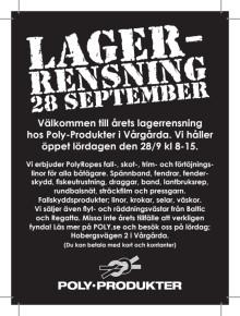 Annons Lagerrensning Poly-Produkter i Vårgårda