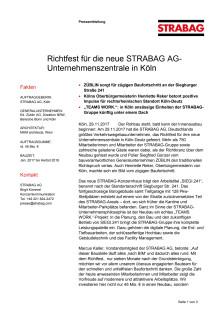 Richtfest für die neue STRABAG AG-Unternehmenszentrale in Köln