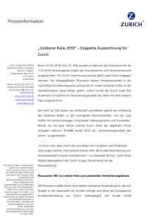 """""""Goldener Bulle 2018"""" – Doppelte Auszeichnung für Zurich"""