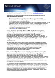Global Risks Report 2019: Geschwächte internationale Zusammenarbeit schadet dem gemeinschaftlichen Willen, globale Risiken anzugehen