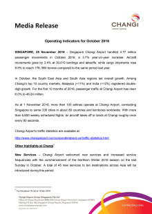 Operating Indicators for October 2016