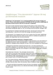 """Pressmeddelande 25 maj 2020 om utställningen """"Fira demokratin!"""""""