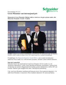 Green Mountain vant internasjonal pris