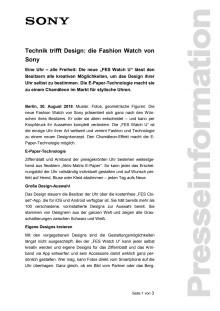 Technik trifft Design: die Fashion Watch von Sony