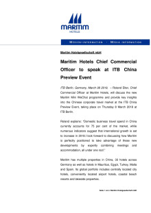 Maritim ITB China preview Event, Thursday 08 March  2018