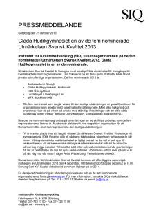 Glada Hudikgymnasiet en av de fem nominerade i Utmärkelsen Svensk Kvalitet 2013