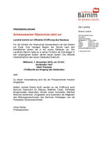 Einladung Eröffnung Oberschule Schwanebeck