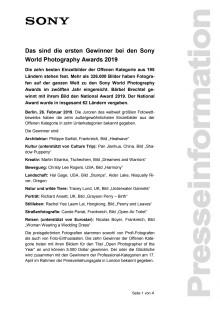 Das sind die ersten Gewinner bei den Sony World Photography Awards 2019