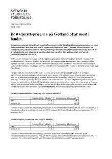 Bostadsrättspriserna på Gotland ökar mest i landet