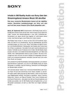 Inhalte in 360 Reality Audio von Sony über den Streamingdienst Amazon Music HD abrufbar