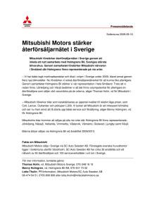 Mitsubishi Motors stärker återförsäljarnätet i Sverige