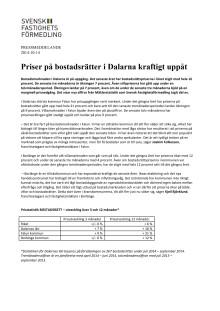 Priser på bostadsrätter i Dalarna kraftigt uppåt