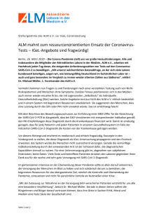 Pressemitteilung ALM e.V.: Stellungnahme zur IGeL-Coronatestung