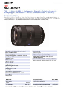 Datenblatt SAL-1635Z2 von Sony
