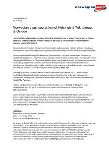 Norwegian avasi suorat lennot Helsingistä Tukholmaan ja Osloon