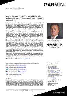 Garmin als Tier 1 Partner für Entwicklung und Fertigung von Fahrzeug-Infotainment-Lösungen ausgewählt