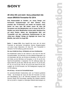 4K Ultra HD und mehr: Sony präsentiert die neuen BRAVIA Fernseher für 2014
