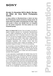 Ab dem 14. November 2019 in Berlin: Die besten Bilder der Sony World Photography Awards