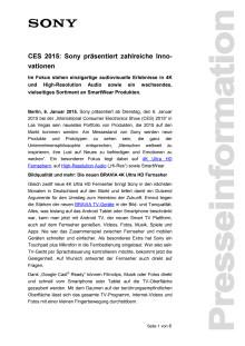 CES 2015: Sony präsentiert zahlreiche Innovationen