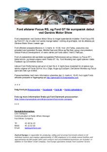 Ford afslører Focus RS, og Ford GT får europæisk debut ved Genève Motor Show