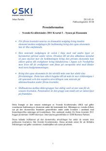 Svenskt Kvalitetsindex 2011 Kvartal 1 – Synen på Ekonomin