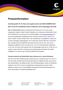 Anmeldung läuft: FC St. Pauli und congstar suchen den KIEZ-CHAMPION 2018 - Beim Turnier für Freizeitkicker winken 10.000 Euro und ein Spiel gegen die Profis