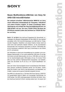 Neues Multifunktions-USB-Hub von Sony für UHS-II SD-/microSD-Karten