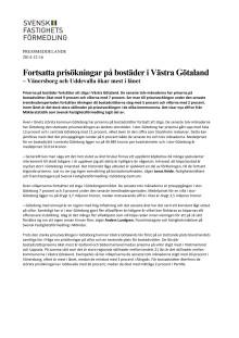Fortsatta prisökningar på bostäder i Västra Götaland – Vänersborg och Uddevalla ökar mest i länet
