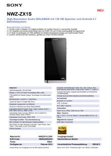 Datenblatt WALKMAN NWZ-ZX1S von Sony
