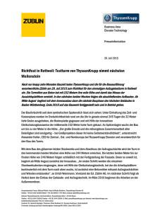 Richtfest in Rottweil: Testturm von ThyssenKrupp nimmt nächsten Meilenstein