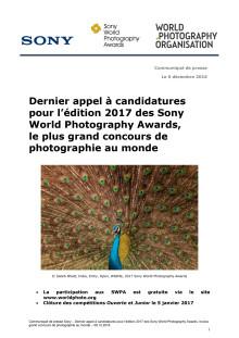 Dernier appel à candidatures  pour l'édition 2017 des Sony World Photography Awards,  le plus grand concours de photographie au monde