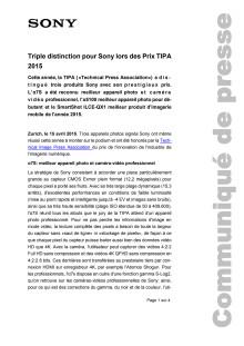 Communiqué de presse_Sony_TIPA Awards 2015_150415_F-CH