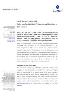 Zurich lädt zum InsurHack® -  Coder aus aller Welt beim Versicherungs-Hackathon in Köln erwartet
