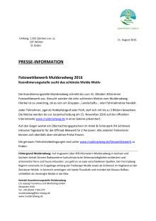 Pressemitteilung zum Fotowettbewerb Mulderadweg