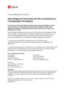 Hjertarådgivaren Daniel Rock har fått ny utmärkelse av rankingbolaget SharingAlpha