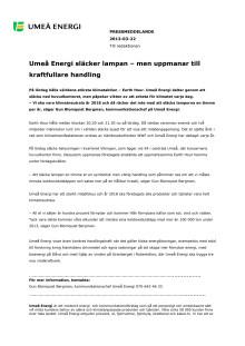 Umeå Energi släcker lampan – men uppmanar till kraftfullare handling