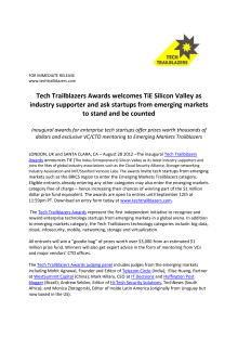 Tech Trailblazers Awards welcomes TiE Silicon Valley as industry supporter and ask startups from emerging markets to stand and be counted