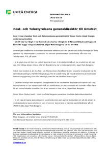 Post- och Telestyrelsens generaldirektör till UmeNet