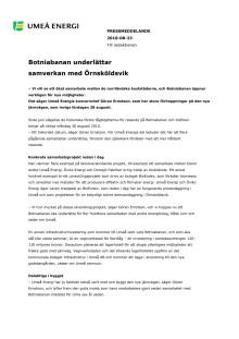 Botniabanan underlättar samverkan med Örnsköldsvik